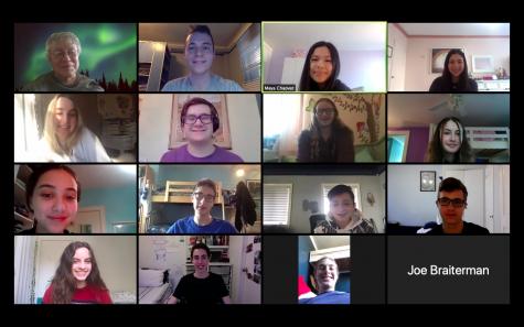 The Mock Trial Team meets via Zoom