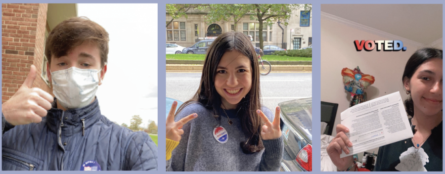 Adam Vasserman '21, Arielle Butman '21, and Rebecca Massel '21 voted for the first time in the 2020 election.
