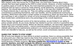 Letter from Mr. Cannon in the beginning of the year about staying at home policies.