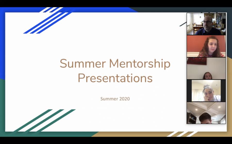 Summer mentorship presentations at beginning of 2020-2021 school year of Summer 2020 projects